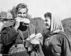 Charlton Heston and Haya Harareet on the set of Ben-Hur (1959, William Wyler).
