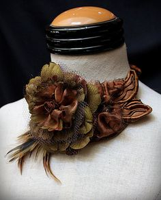 DON'T BE CREWEL Textile Floral Bib Necklace by carlafoxdesign, $125.00