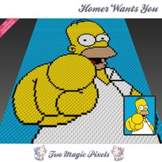 Homer Wants You crochet blanket pattern; c2c, cross stitch; graph; pdf download; no written counts or row-by-row instructions by TwoMagicPixels, $3.99 USD