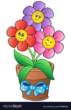 Pot with three cartoon flowers - vector illustration. Art Drawings For Kids, Drawing For Kids, Easy Drawings, Art For Kids, Lampshade Redo, Cartoon Flowers, Crochet Diy, Stone Painting, Rock Art