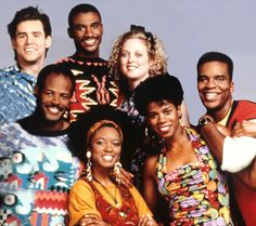 David Allen Grier & Jim Carey with the Cast of Keenen Ivory Wayans Comedy Hit Series ~ In Living Color...So many Stars came outta this show!!!  Where's J-Lo ?