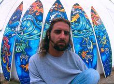 Drew Brophy 5 Surfboard Mural late 1990s LOST