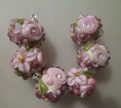 BLISS Amethyst Dreams Rose Floral Abundance on Ivory Lampwork Bead Set