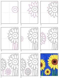 Art Drawings For Kids, Drawing For Kids, Easy Drawings, Sunflower Drawing, Sunflower Art, Art Lessons For Kids, Art For Kids, Fall Art Projects, School Art Projects
