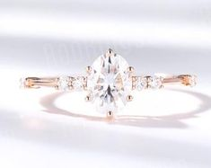 Moissanite   Etsy Pink Diamond Engagement Ring, Diamond Wedding Rings, Bridal Rings, Vintage Engagement Rings, Vintage Rose Gold, Ring Set, Bracelets, Wedding Jewelry, Moissanite