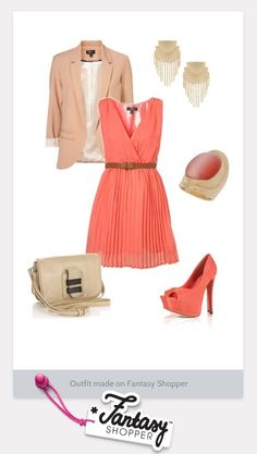 Loving this outfit created on Fantasy Shopper #coral #summerdress