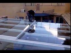 Cobertura em vidro 6mm com pelicula Retratil, cliente James - YouTube