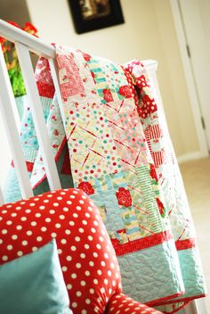 Fun red and turquoise quilt