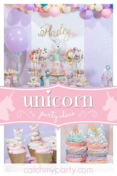 Take a look at this gorgeous sparkly unicorn 1st birthday party! The dessert table and backdrop are wonderful!! See more party ideas and share yours at CatchMyParty.com #catchmyparty #partyideas #unicornbirthdayparty #girlsbirthdayparty #1stbirthdayparty