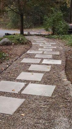 Concrete walkway with steel edging