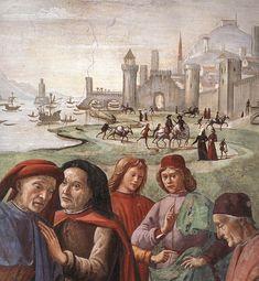 DOMENICO, il GHIRLANDAIO - Rinuncia degli averi (Dettaglio) - affresco - 1482-85 ca. - parete sinistra - Cappella Sassetti - Basilica di Santa Trinità - Firenze