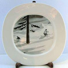 Ski Chalet Decor, Alpine Skiing, China Painting, White Christmas, 1970s, Surface, Tech, Plates, Ceramics