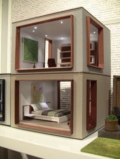 Picture windows on a modern dollhouse