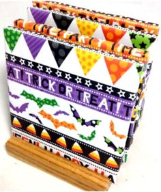 """Custom & Cool {4.25"""" Inches} Set Pack of 4 Square """"Flat & Smooth Texture"""" Large Drink Cup Coaster Made of Ceramic w/ Cork Bottom & Halloween Party Design [Colorful Purple, Orange & Green]"""