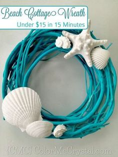 20 DIY Beach Wreath Made From Spray Painted Branch And Seashell