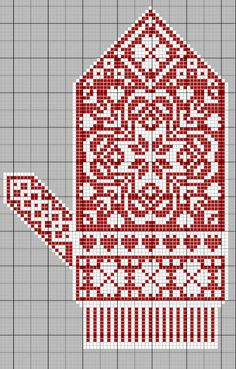 Christmas mitten embroidery a cross, scheme Knitted Mittens Pattern, Knit Mittens, Knitted Gloves, Knitting Socks, Knitting Charts, Knitting Stitches, Knitting Patterns, Cross Stitching, Cross Stitch Embroidery