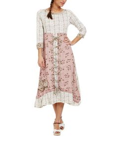 Another great find on #zulily! Light Pink Lace-Front Three-Quarter Sleeve Dress #zulilyfinds