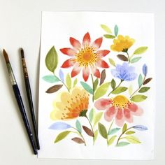 A Piece of Rainbow shows you step-by-step how to create beautiful water color flowers. These are gorgeous!