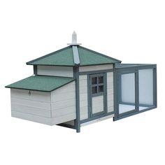 "Amazon.com: Pawhut 77"" Premium Wooden Chicken Coop w/ Backyard Run and Nesting Box - White & Dark Grey: Patio, Lawn & Garden"