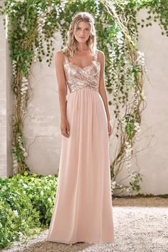 ab063f619d Rose Gold A Line Spaghetti Straps Prom Gown Backless Sequins Chiffon  Bridesmaid Dress OKI10 – Okdresses
