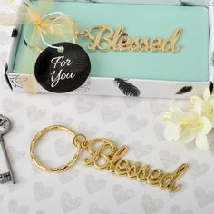 Find Blessed theme gold metal key chain from fashioncraft with quantity discounts here, along with other wedding favors and shower gifts. Creative Wedding Favors, Inexpensive Wedding Favors, Edible Wedding Favors, Wedding Party Favors, Wedding Gifts, Cheap Favors, Wedding Unique, 50th Party, Wedding Ideas