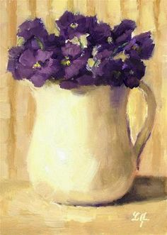 "Daily Paintworks - ""Flowers in Purple"" - Original Fine Art for Sale - © Linda Jacobus"