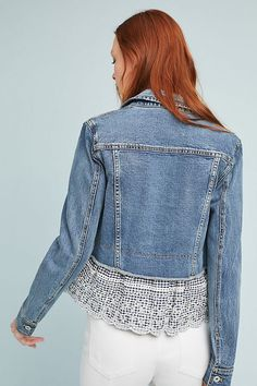 Slide View: 3: Pilcro Eyelet Denim Jacket