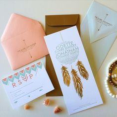This Dream Catcher Letterpress Invitation suite is a luxurious bohemian beauty! By Figmint Design via www.figmintbigcartel.com