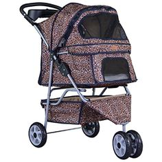 New BestPet Leopard Skin 3 Wheels Pet Dog Cat Stroller w/RainCover >>> Details can be found by clicking on the image. (This is an affiliate link) #CarriersTravelProducts