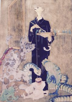Franz Sedlacek - Der Maler, undatiert, Aquarell und Tusche auf Papier, 40,5x28cm