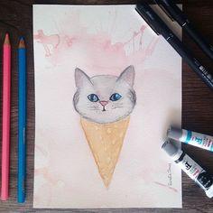 Alguém quer um sorvete de gatinho?  #aquarelinhas #cat