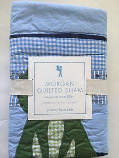 Pottery Barn Kids Morgan Quilted Standard Sham NEW Blue Frog Boys Room Gingham  #PotteryBarnKids