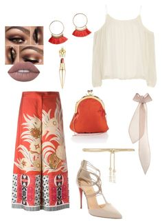 """""""Tan & orange"""" by fabulously-fab on Polyvore featuring Elizabeth and James, Etro, Christian Louboutin, Valentino, Emilia Wickstead and Lime Crime"""