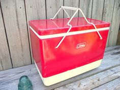 Retro 1960 RED COLEMAN Metal Cooler / Ice Chest with folding carry handles... Cutest Coleman steel belted red snow-lite cooler It is dated 2-1960