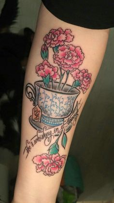 TeaCup, Flowers, Tattoo  She's Whiskey in a TeaCup