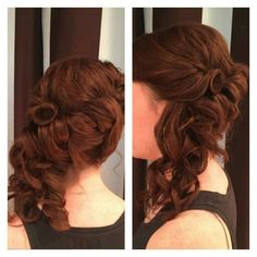 Beautiful side swept upstyle with soft curls by Kariann at Elle Salon Ltd! #upstyle