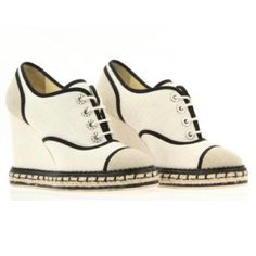 Chanel Lace-Up Espadrille Wedge Beige, Off White & Black Piping. Eh31555. Chanel 37.5. Please Measure Your Foot In Centimeters. Interior Measures 24 Cm. 1 Sole, 4 Heel, 3.7 Across Sole Tapers To 3. Silver Cc Signia On Heels, Black Cc On Soles And Chanel Printed Interior. Pearl Lace Loops. $975 New, Paid $1063 With Tax.Like New. Worn Once To A Spring Wedding Brunch. Sadly Too Small For My Feet. Comes With Original Box And Shoe Care Instruction From Chanel. Lace Up Espadrille Wedges, Lace Up Espadrilles, Chanel Print, Pink Faux Fur, Pearl And Lace, Womens Shoes Wedges, Spring Wedding, Timberland Boots, Wedge Shoes