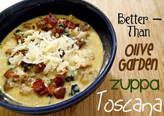 It's a little something called Zuppa Toscana. You've heard of it, I'm sure. Probably scarfed down a bowl or two at Olive Garden with some breadsticks. But have you tried Reeni's version? Because it completely blows Olive Garden's outta the water! I'm all for recipes that turn out better homemade than from the restaurant.