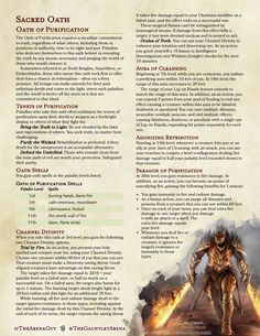 Homebrewing races Homebrewing class Oath of Purification: Sacred Oath Dungeons And Dragons Rules, Dungeons And Dragons Classes, Dnd Dragons, Dungeons And Dragons Characters, Dungeons And Dragons Homebrew, Dnd Characters, Dnd Paladin, Dnd Classes, Dungeon Master's Guide