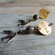 Brass Boho Earrings Metal Stamped Soar