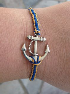 BLUE and ORANGE Anchor Bracelet great for by krystleskrafts, $4.50 Just Listed
