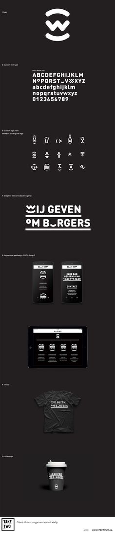 "Visual Identity for Dutch burger restaurant ""Wally"" designed by TakeTwo    #branding #branddesign #visual identity #graphicdesign #logodesign #webdesign #fonttype #print"