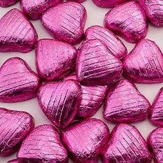 Sjokoladehjerter i Rosafolie 3 kr stk