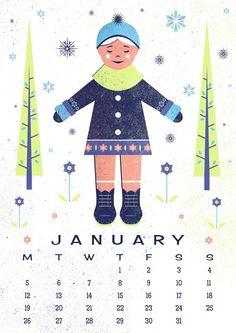 Free Printable: January Calendar Illustration
