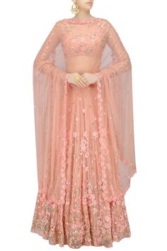 Pink thread and sequins floral work lehenga set available only at Pernia's Pop Up Shop.