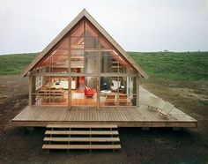 In 1965, on New England's picturesque Block Island, Jens Risom designed a prefabricated A-frame house as a holiday home for his family. Though he was educated as a designer and is most widely known for his furniture, Risom also had a strong interest in architecture, undoubtedly influenced by his father, the renowned Danish architect Sven Risom.