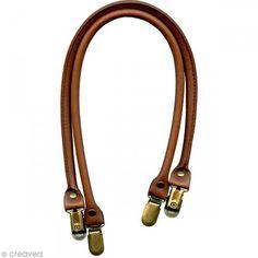 Anses de sac en cuir synthétique, noir, 50 cm, 1 paire