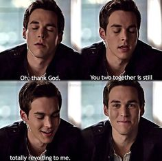 """The Vampire Diaries ... Chris Wood as Kai Parker ... """"Oh, thank God. You two together is still totally revolting to me."""""""