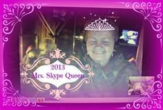 2013 Mrs. Skype Queen  No copy copyright. introducing Mrs. Jean Mong from Atlantic County New Jersey.. A great skyper, uses her skype time to encourage, have fun and love others. Applications will begin for 2014 Mrs. Skype Queen by contacting disneymamom@gmail.com beginning Jan.2014. 2014 will also have Mr. Skype King, Mr. Skype Prince and Miss Skype Princess. Proceeds will go to a preferred cause which will be made known in January! Hope you will be there! blessings and CONGRATULATIONS…
