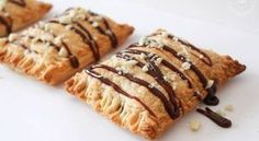Banana and Nutella Puff Pastry Hand Pies. Flaky and delicious puff pastry filled with banana and nutella. Puff pastry hand pies are quick and easy to make. Nutella Puff Pastry, Good Food, Yummy Food, Nutella Recipes, Hand Pies, Mini Foods, Greek Recipes, Sweet Tooth, Food And Drink